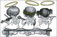 Схема вышивки бисером на габардине Ангелочки Эдельвейс С-292