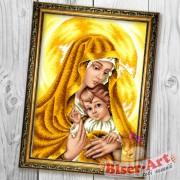 Схема вышивки бисером на габардине Мадонна з немовлям в золотих тонах