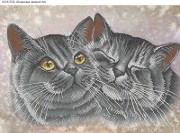 Схема для вышивки бисером на габардине Кошачьи нежности