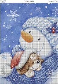 Схема для вышивки бисером на габардине Снеговик