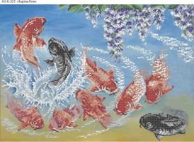 Схема для вышивки бисером на габардине Карпы Кои, , 70.00грн., А3-К-325, Acorns, Коты, бабочки, волки и птицы