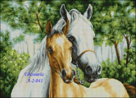 Схема вышивки бисером на габардине Пара коней