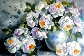 Набор для выкладки алмазной мозаикой Белые розы Алмазная мозаика DM-046 - 760.00грн.