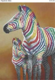 Схема для вышивки бисером на габардине Радужные зебры, , 70.00грн., А3-К-242, Acorns, Коты, бабочки, волки и птицы