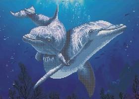 Схема вишивкі бісером на габардині Дельфіни Акорнс А3-К-880 - 70.00грн.
