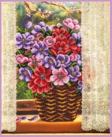 Набор для вышивки бисером Цветы у окна