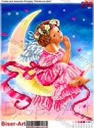 Схема вышивки бисером на габардине Дівчинка-ангел на місяці