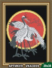 Рисунок на ткани для вышивки бисером Цапли на чёрном Art Solo VKA3059