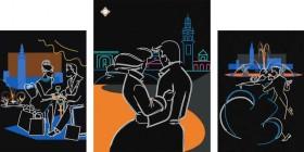 Схема для вышивки бисером на атласе Любовь в большом городе, , 315.00грн., СЛТ-2208, Миледи, Картины из нескольких частей