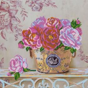 Схема для вышивки бисером на холсте Парижские цветы