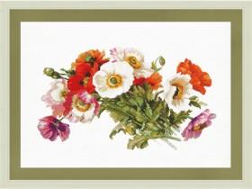 Набор для вышивки нитками на белой канве Букет маков Новая Слобода (Нова слобода) РЕ3340-У - 344.00грн.