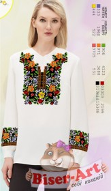 Заготовка женской сорочки на белом габардине Biser-Art SZ88 - 320.00грн.