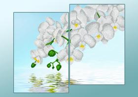 Схема для вышивки бисером на атласе Белые орхидеи (Диптих), , 285.00грн., АР2-008, А-строчка, Картины из нескольких частей