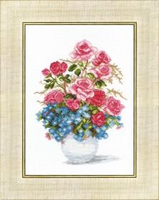 Набор для вышивания крестом Розы и незабудки