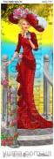 Схема вышивки бисером на атласе Панно Леди страсть