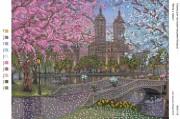 Рисунок на габардине для вышивки бисером Вечір у парку