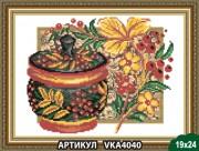 Рисунок на ткани для вышивки бисером Хохлома. Калина