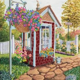 Схема для вышивки бисером на холсте Уютный садик
