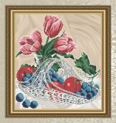 Схема для вышивки бисером на габардине Яблоки и виноград в хрустале