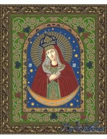 Схема для вышивки бисером на атласе Икона Пресвятой Богородицы Остробрамская