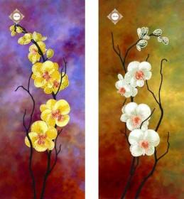 Схема для вышивки бисером на атласе Танцующие орхидеи Диптих, , 120.00грн., СЛТ-2207, Миледи, Картины из нескольких частей