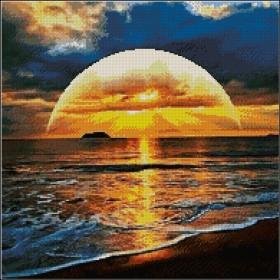 Схема для вышивки бисером на атласе Закат солнца