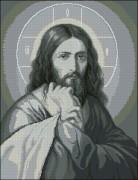Схема вышивки бисером на габардине Иисус