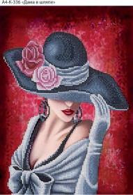 Схема для вышивки бисером на габардине Дама в шляпе Acorns А4-К-336 - 45.00грн.