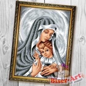 Схема вышивки бисером на габардине Мадонна з немовлям в срібних тонах Biser-Art 30х40-B601 - 66.00грн.