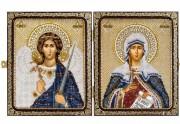 Набор для вышивки иконы бисером в рамке-складне Св. Мц. Татьяна (Татиана) Римская и Ангел Хранитель