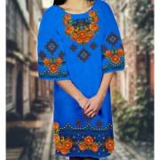 Заготовка женского платья на синем габардине
