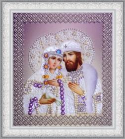 Набор для вышивки бисером Святые Петр и Феврония (жемчуг) серебро