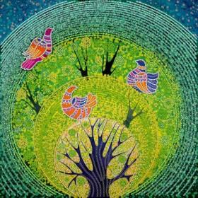 Схема для вышивки бисером на холсте Райские птички