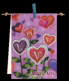 Набор-флажок для вышивки бисером на холсте Цветы любви Абрис Арт АТ-007 - 87.00грн.