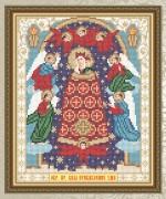 Схема для вышивки бисером на габардине Образ Пресвятой Богородицы Прибавление ума