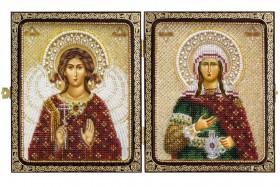 Набор для вышивки иконы бисером в рамке-складне Св. Прп. Светлана (Фотиния) и Ангел Хранитель
