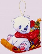 Набор для изготовления игрушки из фетра для вышивки бисером Белый медвежонок Баттерфляй (Butterfly) F139