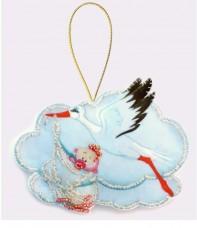 Набор для изготовления игрушки из фетра для вышивки бисером Аист  девочкой Баттерфляй (Butterfly) F037