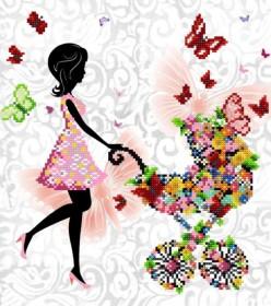 Схема  вышивки бисером на атласе Радость материнства