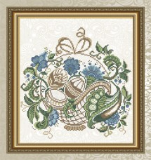 Схема для вышивки бисером на габардине Пасхальная корзинка Art Solo VKA4713