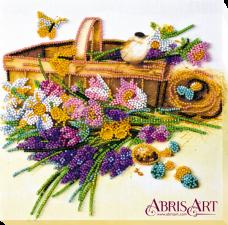Набор-миди для вышивки бисером на натуральном художественном холсте Ранние цветочки Абрис Арт АМВ-024