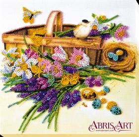 Набор-миди для вышивки бисером на натуральном художественном холсте Ранние цветочки