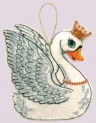 Набор для изготовления игрушки из фетра для вышивки бисером Лебедь