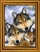 Схема вышивки бисером на атласе Семья волков