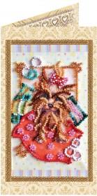 Набор - открытка для вышивки бисером Йорк, , 74.00грн., АО-110, Абрис Арт, Собака символ 2018 года своими руками