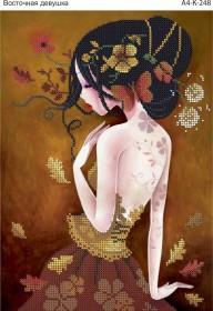 Схема для вышивки бисером на габардине Восточная девушка