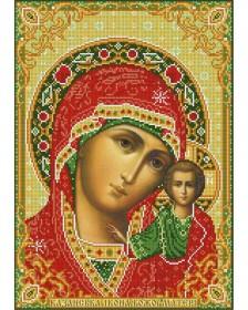 Схема вишивкі бісером на габардині Казанська Присвята Богородиця
