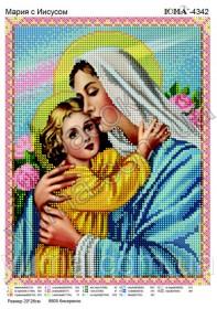 Схема вышивки бисером на атласе Мария с Иисусом