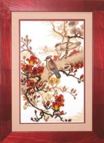 Набор для вышивки крестом Птички на ветке