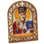 Набор для вышивки бисером на деревяной основе Николай Чудотоврец